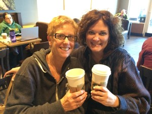 Linda Rosen and Michelle Putnik at a local Starbucks.